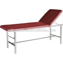 Quadrado tubo SS cama / mesa de exame com cobertura macia topo