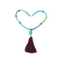 Collier pendentif pompon en perles de rocaille fait main