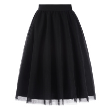 Kate Kasin Womens 3 Layers A-line Soft Tulle Netting Prom Party Wedding Black Skirt KK000311-1