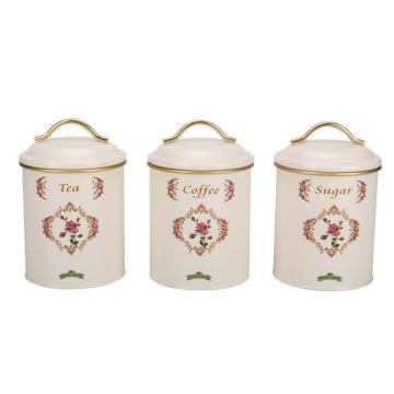 Beige Paint Design Food Jar Lid With Handle