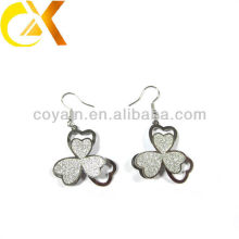Stainless Steel jewelry silver flower dangle earrings for women