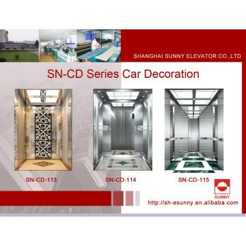 Voiture d'ascenseur de passager avec le milieu panneau de gravure de délié (SN-CD-113)