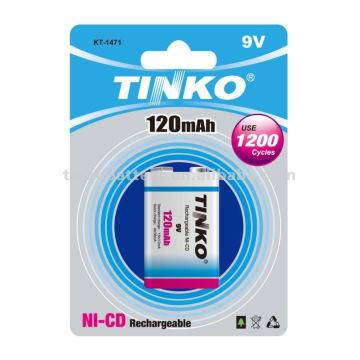 NI-CD rechargebale battery 9V 120mah 1pcs /blister Shenzhen Manufactuere