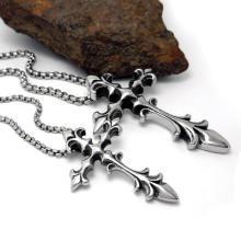 Moda jóias cruz colar de pingente de aço inoxidável homens e mulheres