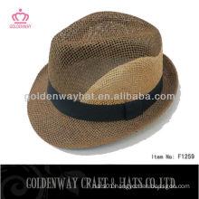 2015 Newest Style Straw Fedora Hat with custom made design logo