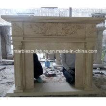 Colonne sculptée de cheminée en marbre naturel en pierre (SY-MF221)