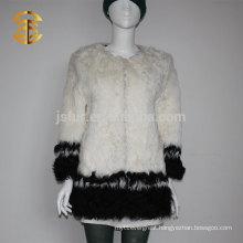 Whosale Elegant Lady Black and White Genuine Curly Fur Sheepskin Coat Women