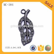 MC384 Hoja de hoja de hoja de estilo colgar etiquetas de metal para la venta al por mayor de ropa