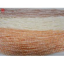 Cordes de perles d'eau douce de riz de qualité AA de 3-4 mm
