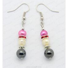 Hematite crystal round bead earring