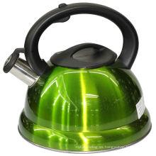 Hervidor de agua de silbato verde con doble fondo y mango de plástico