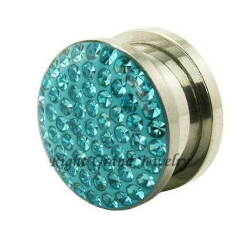 Espelho Polido Cristal Aquamarine Falso Flesh Tunnel