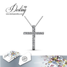 Destin bijoux cristal de Swarovski Traverse Croix pendentif & collier