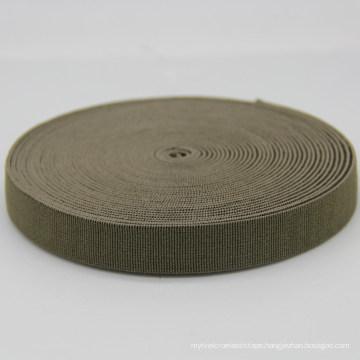 20 mm Custom Brown Elastic Polyester / Nylon / Cotton Webbing / Ribbon for Belt / Bags