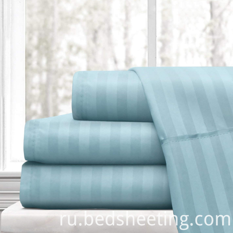 Blue Cotton Sateen Stripe Sheets
