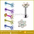 Vente chaude Corps Piercing Chirurgicale En Acier Prong Set Fleur Opale Lip Ring Labret Goujons