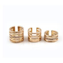 Joyas de moda anillo ancho oro combinación que destella