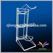 Регулируемый белый 3-уровневого пола провода металла типа Moving дисплей полка для бутылки с водой