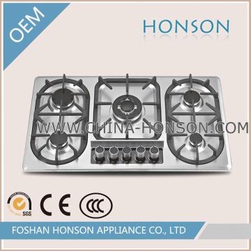 Vente chaude cinq brûleurs en acier inoxydable plaque de gaz panneau