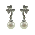 Sterling Silver Drop Earrings with Glass Pearls