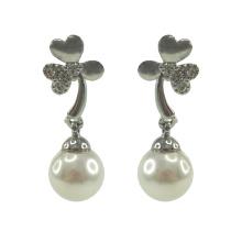 Aretes colgantes de plata esterlina con perlas de vidrio