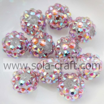 Gioielli solido rosa Multicolor 10 * 12MM resina strass palla perline ornamenti
