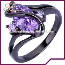 Wholesale Copper Jewelry Main Material Black Gold Filled Sapphire Rings for Wedding