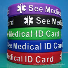 Custom Embossed Color Filling Silicone Wristbands, Raised letters silicone wristbands