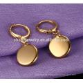 Einfache elegante runde Form Anhänger Edelstahl Ohrringe für Frauen ZZE020
