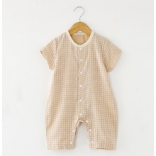 Comfortable Organic Cotton Check Baby Romper