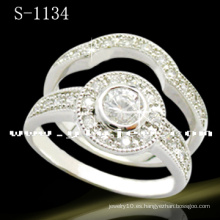 Blanco 925 joyería de plata del anillo de bodas (S-1134. JPG)