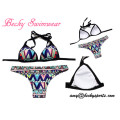 Lady′s Swimsuit Two-Piece Swimwear Bikini Beachwear with Removable Padding