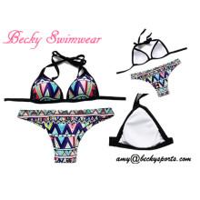 Maillot de bain en dames Maillot de bain en deux pièces Vêtement de plage en bikini avec rembourrage amovible