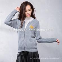 uniforme de béisbol con cremallera de punto suéter chaqueta de mujer