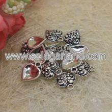 15 * 11MM Antiqued Tibetan Silver Filigree Heart Charms Drop