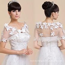 Weiße Hochzeit Braut hübsche Hochzeitskleid Spitze appliqueslace Schal