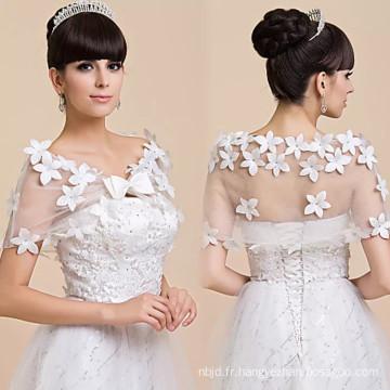 Robe de mariée en mariée blanche, robe de mariée, lacet appliqueslace châle