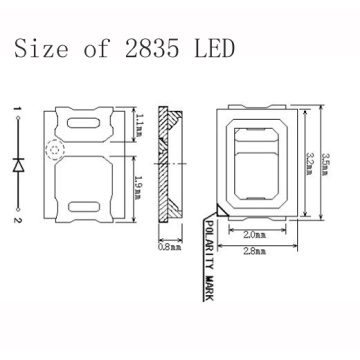 2835 Red LED SMD 0.5W Epistar Chip