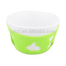 tazones de ensalada de cerámica blanca