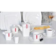 P & T porcelana fábrica de louça de porcelana branca, placa de forma plana, para uso de restaurante