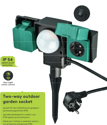 2-Way Outdoor Garden Plug Sockets