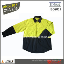 Long Sleeve Work Shirt 100% Cotton Hi Viz Shirt with CSA Z96 Standard