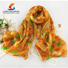 Lingshang PM1032 venden al por mayor el mantón suave de la bufanda de la impresión de la gasa animal de la impresión del caballo del unicornio del regalo de la manera de la venta al por mayor suave