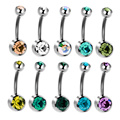 Navel Piercing Mix Color Perfection Double Gem Ball Titanium Belly Button Rings