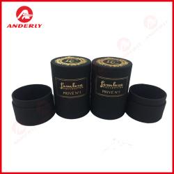 Gold Foil Printing Black Kraft Paper Tube Packaging