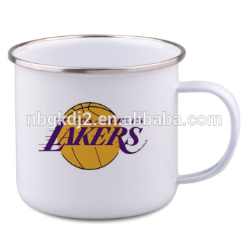 enamel coffee mug with OEM design metal material