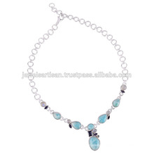 Larimar And Iolite With Rainbow Moonstone 925 Solid Silver Necklace