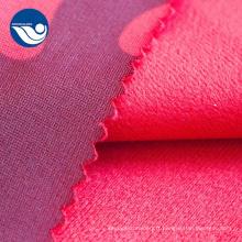 Tissu de velours de brosse d'ouatine de corail imprimé pour la tapisserie d'ameublement