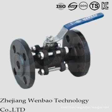 Válvula de bola flotante bridada del acero de carbono 3PC con el cuerpo partido