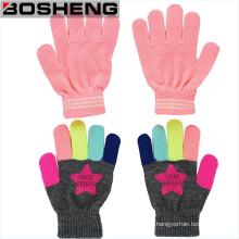 95% Acryl Kinder Stretch Winter gestrickte Magic Handschuhe